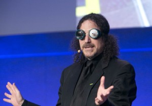 David Berman wears goggles in his talk about web accessibility