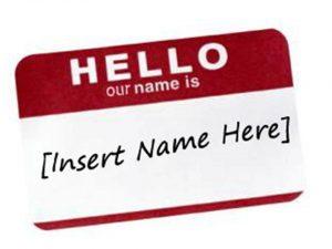 Empty nametag