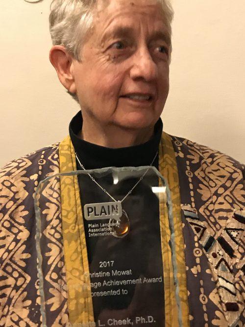 Annetta Cheek receiving the Mowat Award